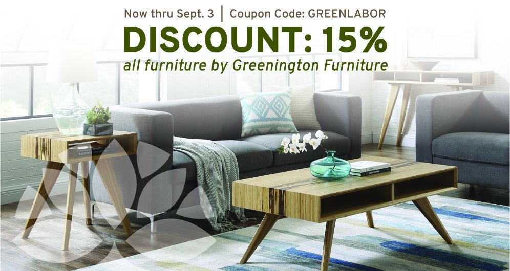 15% all furniture by Greenington Furniture